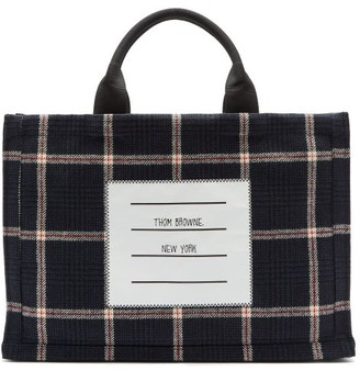 Thom Browne Logo-label Windowpane-check Wool-twill Tote - Navy