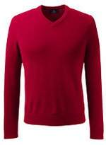Classic Men's Tall Fine Gauge Cashmere V-neck Sweater-Rich Red