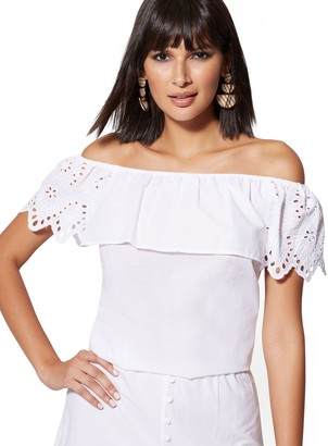 New York & Co. Eyelet-Overlay Off-The-Shoulder Blouse
