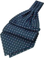 Forzieri Polkadot Pattern Dark Blue Twill Silk Ascot