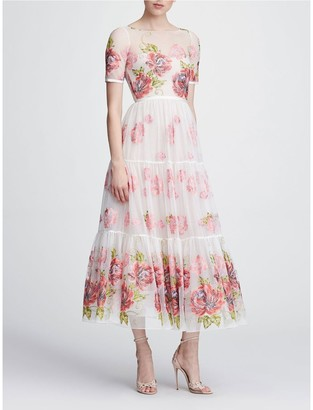 Marchesa Notte Short Sleeve Tea-Length Gown