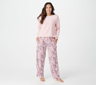 Carole Hochman Petite Silky Velour Fleece Crew Neck Novelty PJ Set