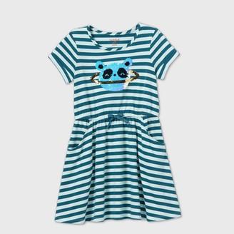 Cat & Jack Girls' Flip Sequin Panda Striped Knit Dress - Cat & JackTM Teal/Mint