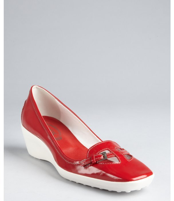 Tod's cherry patent leather cutout buckle loafer wedges