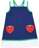 Florence Eiseman Girl's Colorblock Sleeveless Dress w/ Strawberry Pockets, Size 6X-6
