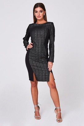 Paper Dolls Osiris Black Metallic Stripe Jacquard Illusion Dress