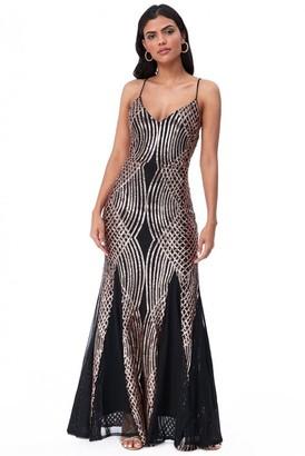 Goddiva Geometric Sequin Maxi Dress - Black