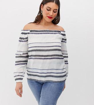 Vero Moda Curve stripe cold shouler blouse-Multi