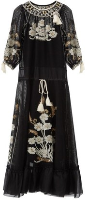 RED Valentino Floral-embroidered Gauze Maxi Dress - Black