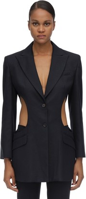 Rokh Cutout Slim Fit Viscose Twill Blazer
