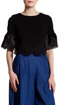 Gracia Puff Sleeve Lace Hem Blouse