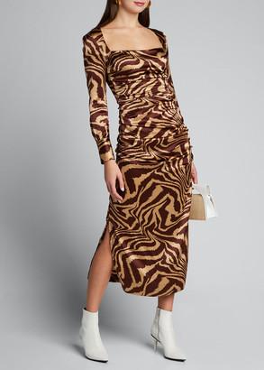 Ganni Stretch Satin Printed Square-Neck Midi Dress