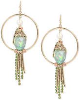 Betsey Johnson Gold-Tone Multi-Stone Bird Drop Hoop Earrings