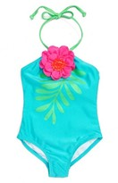 Girl's Love U Lots Floral Leaf One-Piece Swimsuit