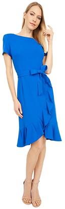 Calvin Klein Belted Short Sleeve Dress with Ruffle Detail (Capri) Women's Dress