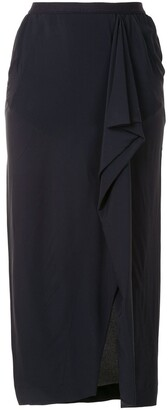 Rick Owens Grace draped silk skirt