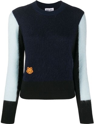 Kenzo colour block Tiger patch sweater