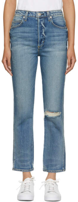 Amo Blue Chloe Cropped High-Rise Jeans