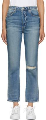 Amo Blue Chloe Cropped High-Rise Jeans
