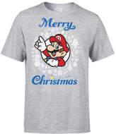 Nintendo Super Mario Mario White Wreath Merry Christmas Grey T-Shirt