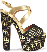 Alaia Laser-cut metallic leather and suede platform sandals
