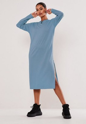 Missguided Blue Basic Long Sleeve Midi T Shirt Dress