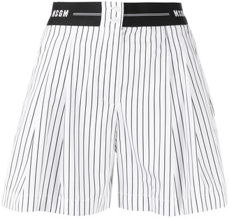 MSGM Logo-Waistband Striped Shorts