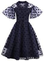 LR VINTAGE Louis Rouse Women V-neck Pagoda Sleeve Dark Blue Big Swing Vintage Chiffon Dress