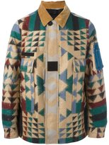 Valentino geometric print jacket - men - Cotton/Sheep Skin/Shearling/Polyamide/Virgin Wool - 50