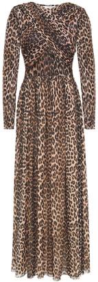 Ganni Leopard-print Stretch-mesh Maxi Dress