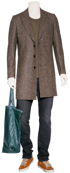 Paul Smith Brown Micro Check Wool Overcoat