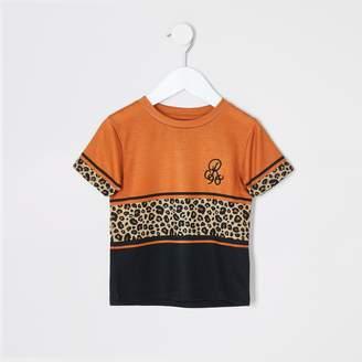 River Island Mini boys Orange leopard print T-shirt