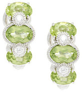Judith Ripka As Is Sterling & Diamonique Peridot Huggie Hoops