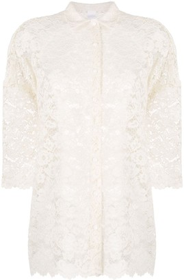 Ultràchic Floral Lace Short-Sleeved Shirt
