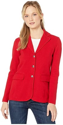 Lauren Ralph Lauren Sweater Knit Blazer (Lipstick Red) Women's Jacket