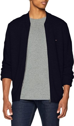 Tommy Hilfiger Men's Cotton Linen Textured Baseball Jacket Cardigan