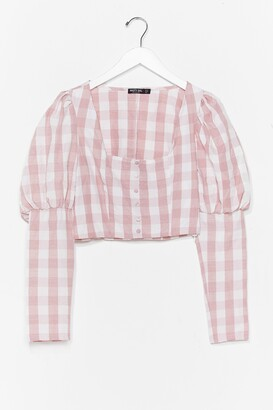 Nasty Gal Womens Gingham a Reason Puff Sleeve Cropped Blouse - Pink - 12