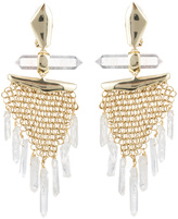 Alexis Bittar Dangling Rock Crystal Mesh Clip Earring