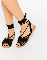 Asos FRESHERS Suede Plaited Tie Leg Sandals