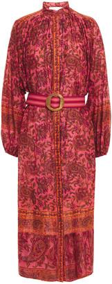 Zimmermann Belted Floral-print Cotton-gauze Midi Dress