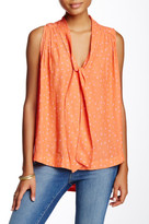 Free People Sleeveless Printed Tie Front Blouse