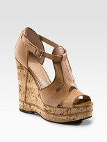 Chloe T-Strap Platform Cork Wedge Sandals