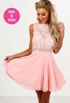 Pink Boutique Lala Land Pink Crochet Tulle Skater Dress