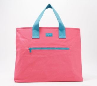 mb greene Oversized Canvas Tote with Front Zip Pocket