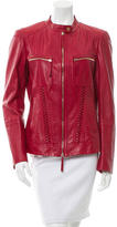 Roberto Cavalli Leather Crew Neck Jacket