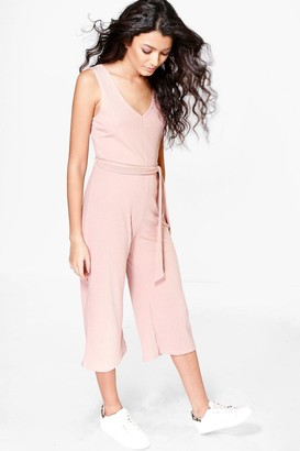 boohoo Basic Ribbed Culotte Jumpsuit