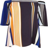 River Island Womens RI Plus blue stripe bardot top