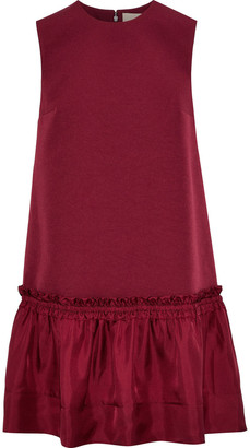 Roksanda Tanaga Ruffled Satin-paneled Silk-blend Crepe Mini Dress