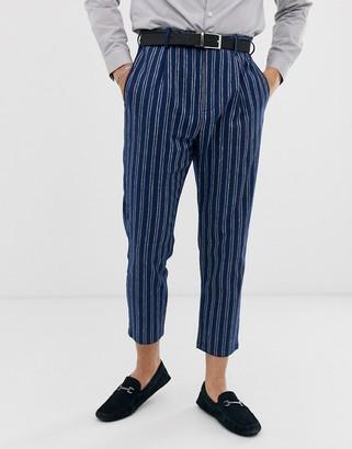 Gianni Feraud slim fit linen blend stripe pleated cropped suit pants-Blue