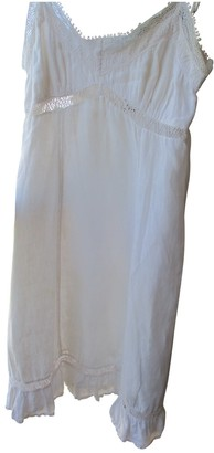 120% Lino White Linen Dress for Women